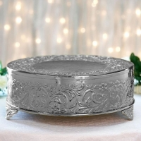 Cake Stand, Silver Round Embossed Metal 18''